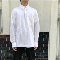 "HERMES /  ""H"" L/S Polo Shirt  (white) (spice)"