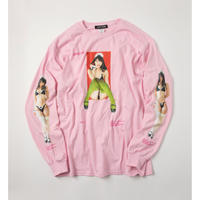 ZATUON x 川崎あや / sit down made L/S tee (pink)