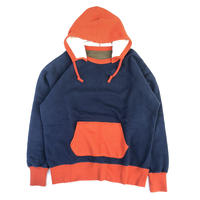 "THREE FACE "" two tone after hoodie"" (navy × orange)"