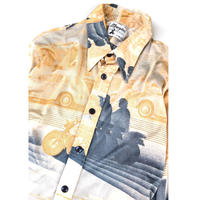 """70's """"Motorcycle Poly Shirts""""  (spice) #A1"""
