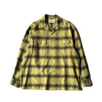 WACKO MARIA / OMBRAY CHECK OPEN COLLAR SHIRT  ( TYPE-1 )  (yellow)