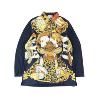 HERMES / Silk Scarf Pattern L/S Polo Shirt (navy) (spice)