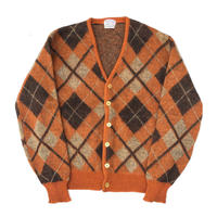 "60's The KING SIZE ""Argyle Mohair Cardigan""  (spice)"