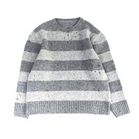 THREE FACE / damage border knit (gray×L.gray)