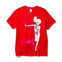"F-LAGSTUF-F x VIDEO GIRL (電影少女) / ""Hehehe"" Tee (red)"