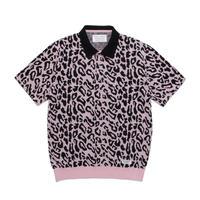 WACKO MARIA /  leopard knit polo shirt (pink)