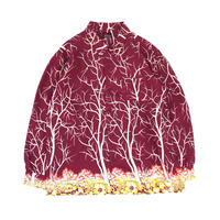 MASSES /  RAYON PRINT SHIRT V (burgundy)