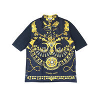 HERMES / Silk Scarf Pattern S/S Polo Shirt (navy:L) (spice)