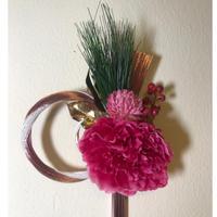 水引とアートフラワーのお正月飾り(大)♪ 花言葉は「はにかみ」