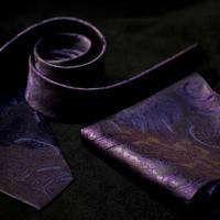 Oguri Original ネクタイ&ポケットチーフ ペーズリー 紫×グレー
