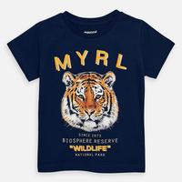 Mayoral(マヨラル)キッズ タイガープリントTシャツ/ネイビー