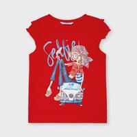 Mayoral(マヨラル)キッズ 車の上に女の子セルフィTシャツ/レッド
