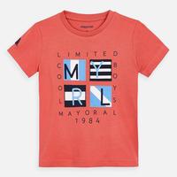 Mayoral(マヨラル)キッズ ロゴアップリケのTシャツ/コーラル
