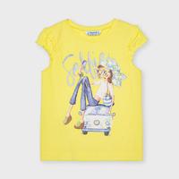 Mayoral(マヨラル)キッズ 車の上に女の子セルフィTシャツ/イエロー