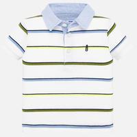 Mayoral(マヨラル)ベビー ボーダーポロシャツ/ホワイト×デニム×アーミーグリーン