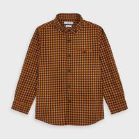 Mayoral(マヨラル)キッズ ボタンダウンチェックシャツ/オレンジ×ネイビー