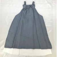 【新作SALE】Malvi&Co.(マルヴィー) 二重仕立てのジャンパースカート/ブルーグレー