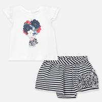 Mayoral(マヨラル)ベビー Tシャツとボーダースカートのセット/ネイビー×ホワイト
