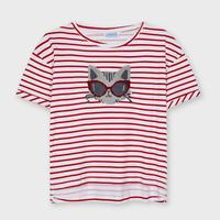 Mayoral(マヨラル)ジュニア 猫スパンコールボーダーTシャツ/レッド