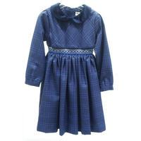 【SALE】Malvi&Co.(マルヴィ)  スモッキングワンピースブルー/タータン襟×ベロア