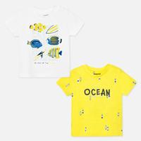 Mayoral(マヨラル)ベビー Tシャツ2枚セット/ホワイト×お魚とイエロー×サーフボード