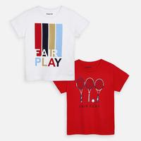Mayoral(マヨラル)キッズ テニスTシャツ2枚セット/ホワイト+レッド