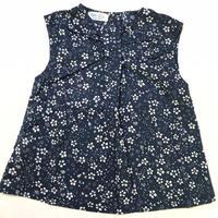【新作SALE】Malvi&Co.(マルヴィー) 小花ノースリーブシャツ/ネイビー