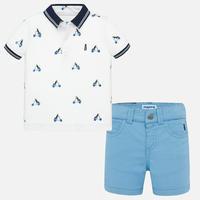 Mayoral(マヨラル)ベビーポロシャツ+ショートパンツのセット/ホワイト×ライトブルー