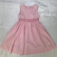 【新作SALE】Malvi&Co.(マルヴィー) お花スモッグ刺繍ワンピース/ピンクストラインプ