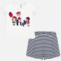 Mayoral(マヨラル)ベビー ガールプリントTシャツ+ボーダーショートパンツセット