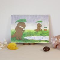 アートキャンバス(雨の中のオオさんショウさん)
