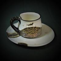化粧金彩魚文コーヒー碗《S飲2eg4》