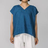 [Vネックシャツ]リネン/藍染