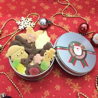 【12月20日までに到着予定】クリスマスクッキー缶  Sサイズ(丸缶)