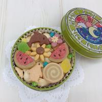 今期 完売いたしました☆夏のクッキー缶《丸缶:太陽と月》