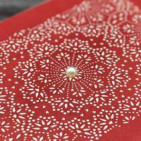 伊勢型紙x伊勢真珠の文庫箱【メダリオン】緋色-RED