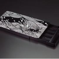 名刺ケース/ジュラルミン削り出し【波に兎】BLACK  【送料無料 税込】