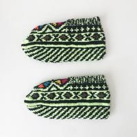 イランの手編み靴下 親子セット / ライム×キャメル