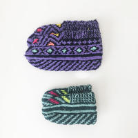 イランの手編み靴下 親子セット /パープル×ミント