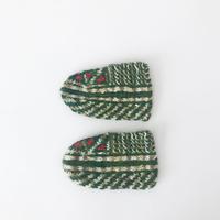 イランの手編み靴下 ベビー&キッズセット / オリーブグリーン × ホワイト