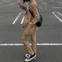 camelウール混セットアップスーツ
