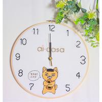 そうかニャン刺繍壁掛け時計 L②