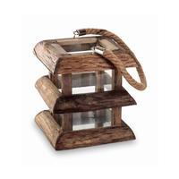 Houston brown wood lantern glass thick 662189