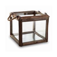 Houston brown wood lantern glass rect 662187
