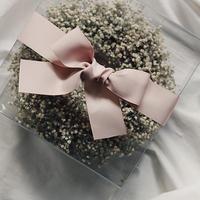 かすみそうwreathe pink ribbon