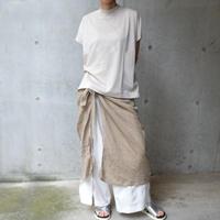 Waffle-knit wrap skirt   < BEIGE >