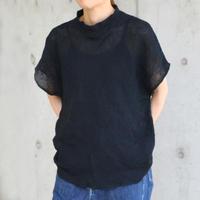 Waffle-knit french sleeve  < BLACK >