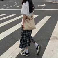 シンプルチェック  Iラインスカート