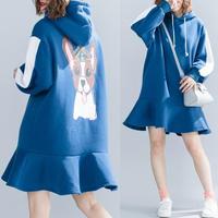 大きいサイズ Sweetスタイル☆裾フレア切替ワンピース 裏起毛 フード付き 犬柄ワンピース 秋冬 F 8102371