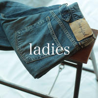 甘織りデニム 5Pルーズストレートジーンズ / ladies _ used【 50-0581C 】